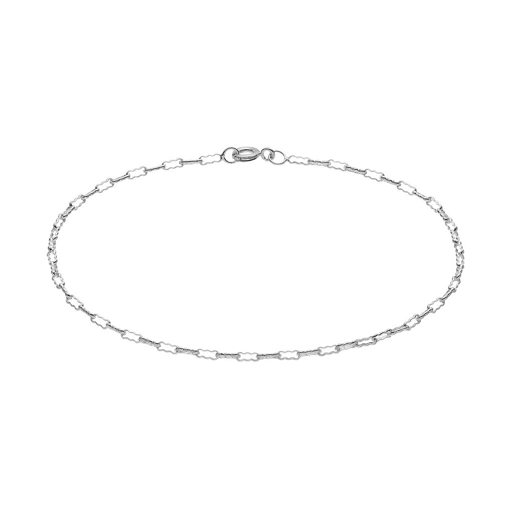 Barefootsies Silver Plated Crimp Chain Anklet