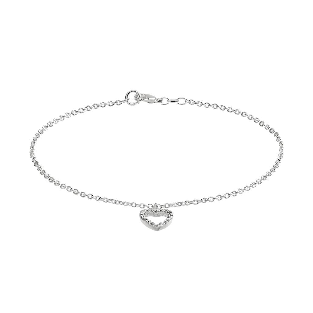 Barefootsies Silver Plated Crystal Heart Anklet