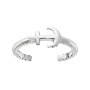 Barefootsies Silver Plated Anchor Toe Ring