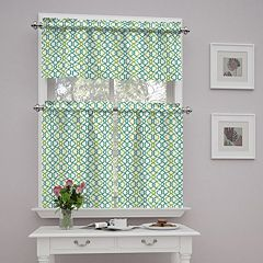Traditions by Waverly Waves Tier & Valance Kitchen Window Curtain Set
