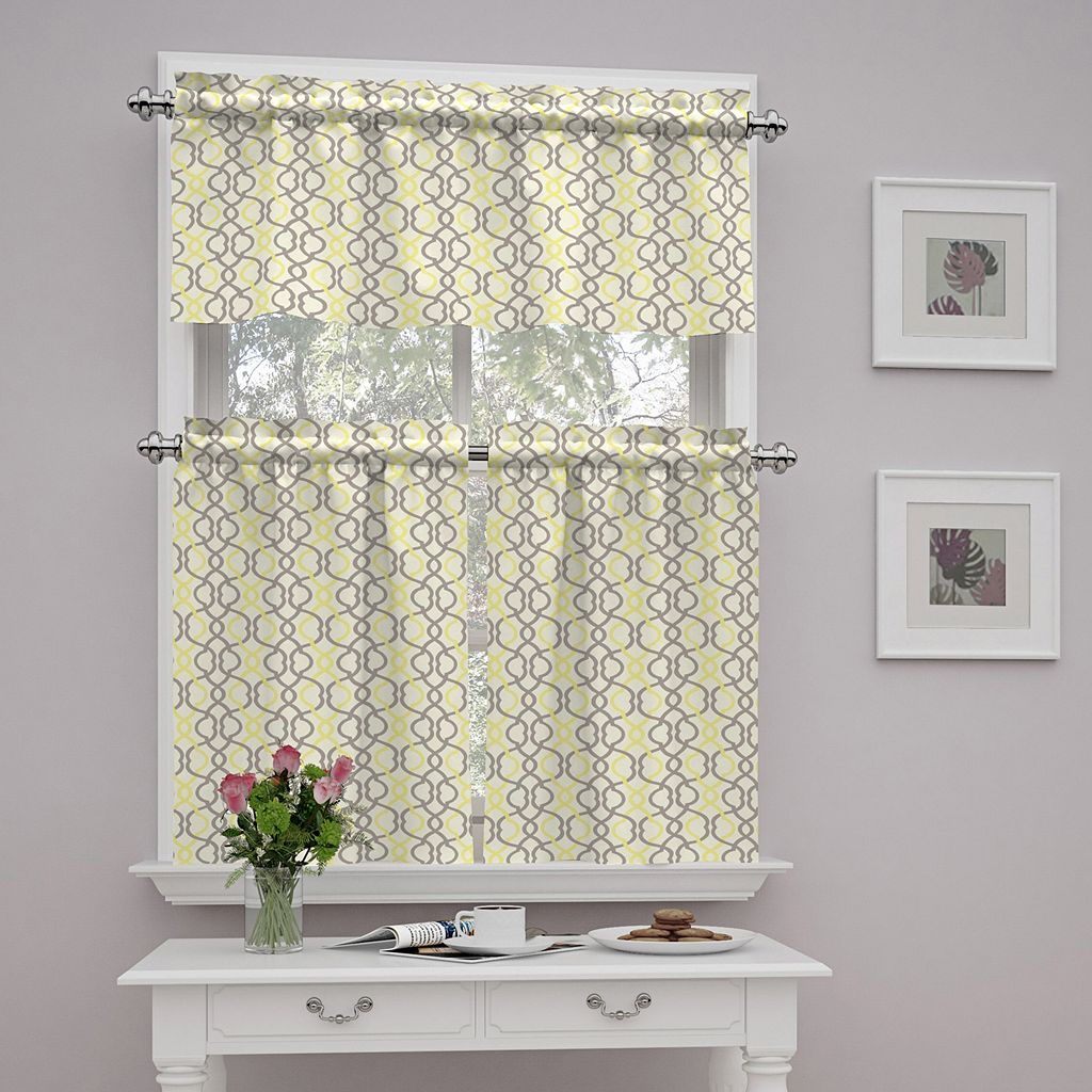Traditions by Waverly Waves Tier & Valance Set