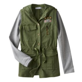 """Girls 7-16 Side of Fries Knit Long Sleeve """"Army"""" Patch Utility Jacket"""