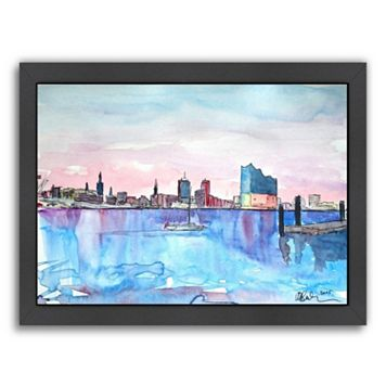 Americanflat Hamburg Harbour City Framed Wall Art
