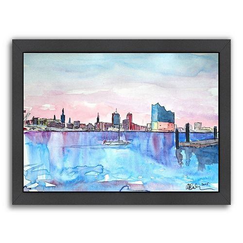 Americanflat Hamburg Harbour City Framed Wall Art