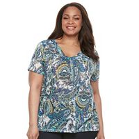Plus Size Napa Valley Paisley V-Neck Tee