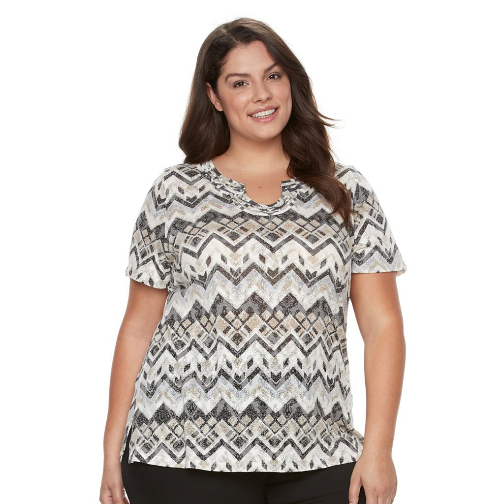 Plus Size Napa Valley Chevron Burnout Tee