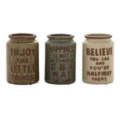 Sentiments Ceramic Jar Table Decor 3 pc Set