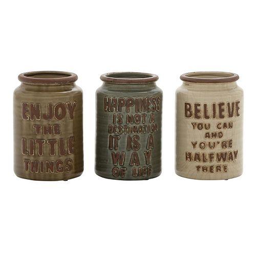Sentiments Ceramic Jar Table Decor 3-piece Set