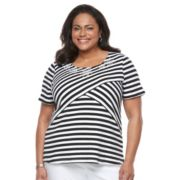 Plus Size Napa Valley Striped Embellished Tee