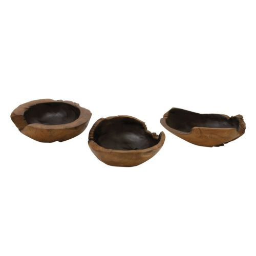 Rustic Wood Bowl Table Decor 3-piece Set