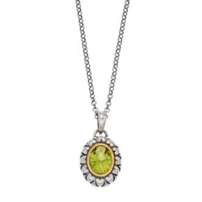 Adora Sterling Silver Simulated Peridot Oval Pendant