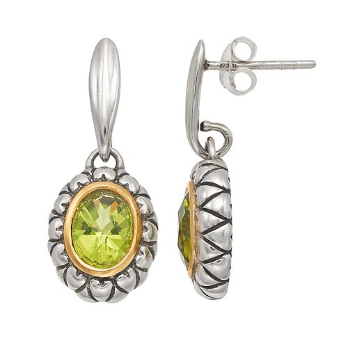 Adora Two Tone Sterling Silver Simulated Peridot Oval Drop Earrings