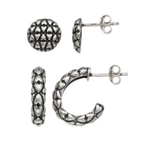 Adora Sterling Silver Textured Semi-Hoop & Stud Earring Set