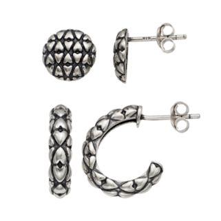 Adora Sterling Silver Textured Semi-Hoop & Stud Earring Set