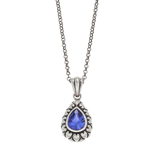 Adora Sterling Silver Simulated Tanzanite Teardrop Pendant