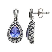 Adora Sterling Silver Simulated Tanzanite Teardrop Earrings