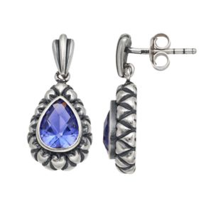 Adora Sterling Silver Simulated Tanzanite Teardrop Earrings
