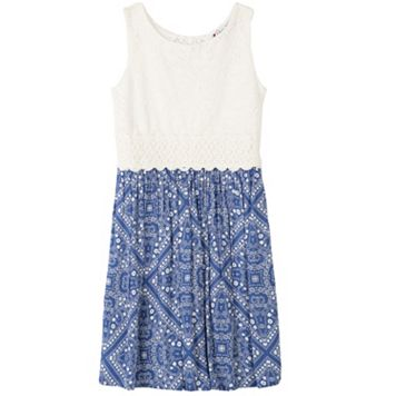 Girls 7-16 Speechless Crochet Top Fit N Flare Dress