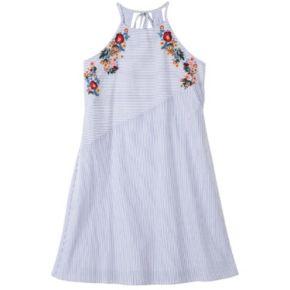 Girls 7-16 Speechless Embroidered Halter Striped Dress