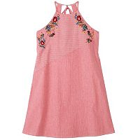Girls 7-16 Speechless Embroidered Halter Striped Dress
