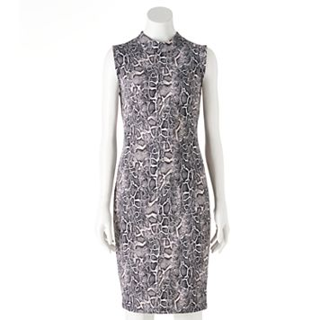Women's Jennifer Lopez Snakeskin Print Mockneck Sheath Dress