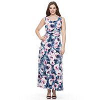 Plus Size Suite 7 Floral Watercolor Ruched Maxi Dress