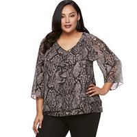 Plus Size Jennifer Lopez Ruffle Chiffon Top