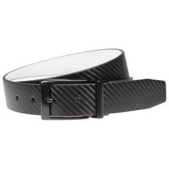 Men's Nike Black & White Textured Reversible Leather Belt