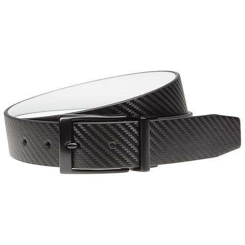 Men's Nike Black & White Textured Reversible Leather Belt