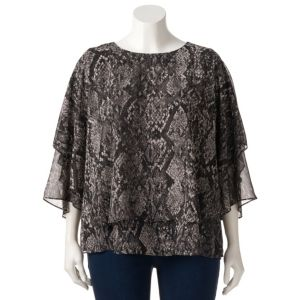 Plus Size Jennifer Lopez Chiffon Popover Top