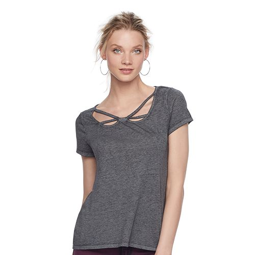 Women's Rock & Republic® Strappy Cutout Tee