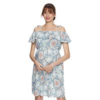 Maternity a:glow Print Off-the-Shoulder Babydoll Dress