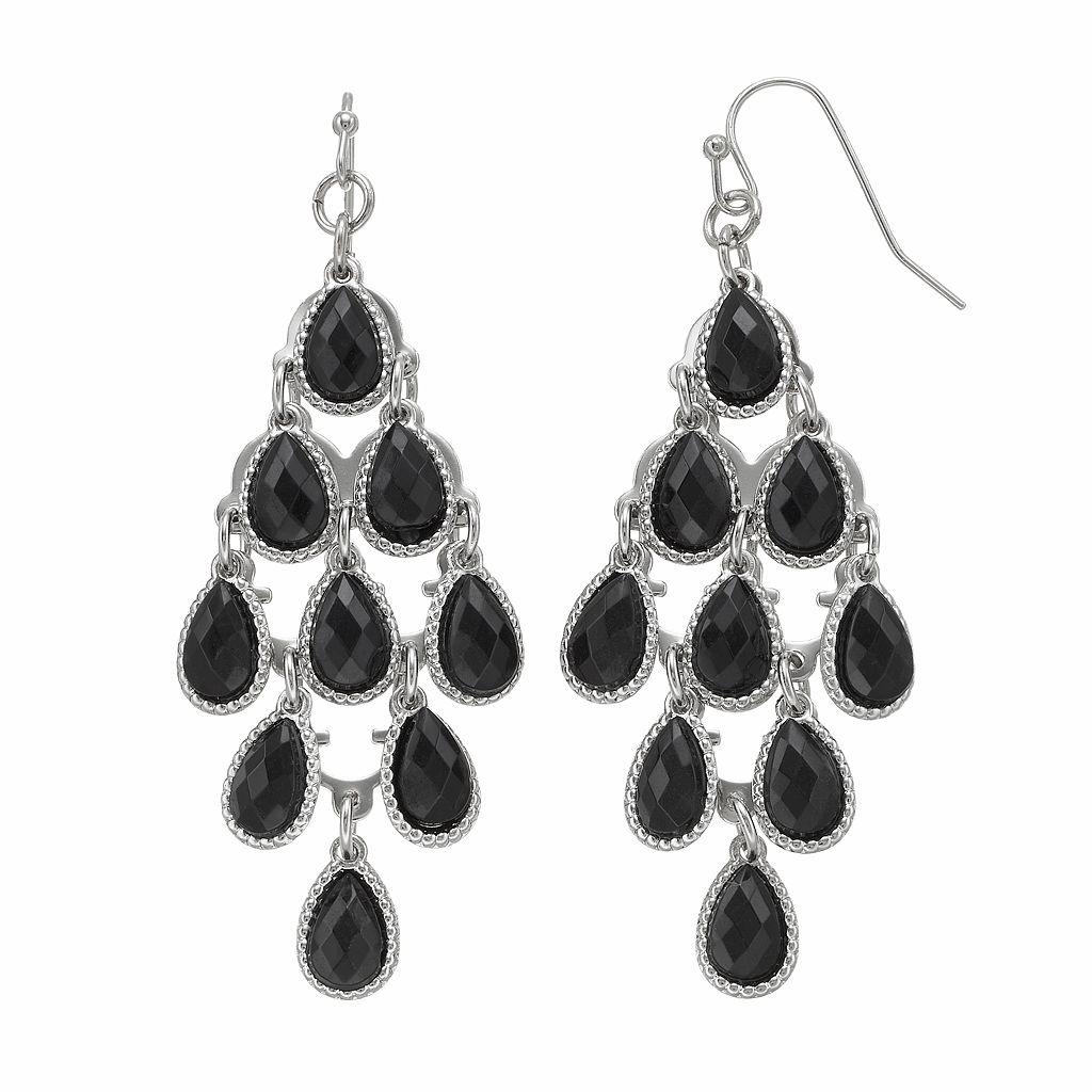 Black Teardrop Kite Earrings