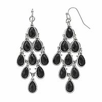 Black Teardrop Kite Earrings