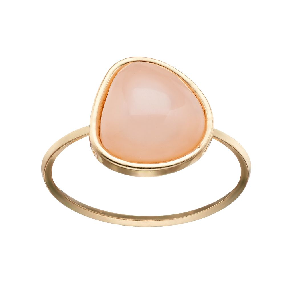 LC Lauren Conrad Peach Triangular Cabochon Ring