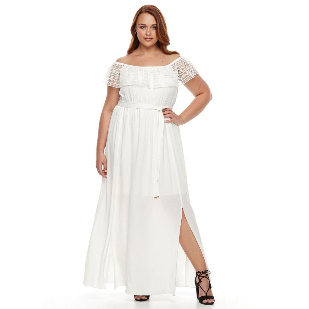 Plus Size Apt. 9® Off Shoulder Ruffle Lace Maxi Dress