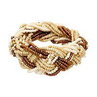 Brown Seed Bead Braided Stretch Bracelet
