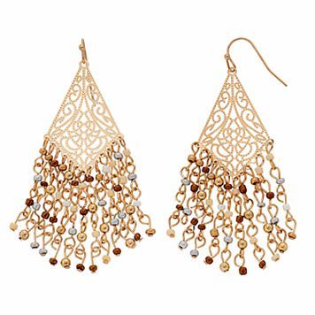 Seed Bead Filigree Nickel Free Kite Drop Earrings