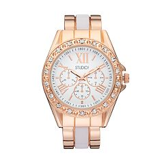 Studio Time Women's Crystal Two Tone Cuff Watch