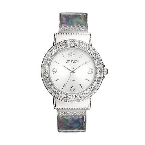 Studio Time Women's Simulated Abalone Cuff Watch