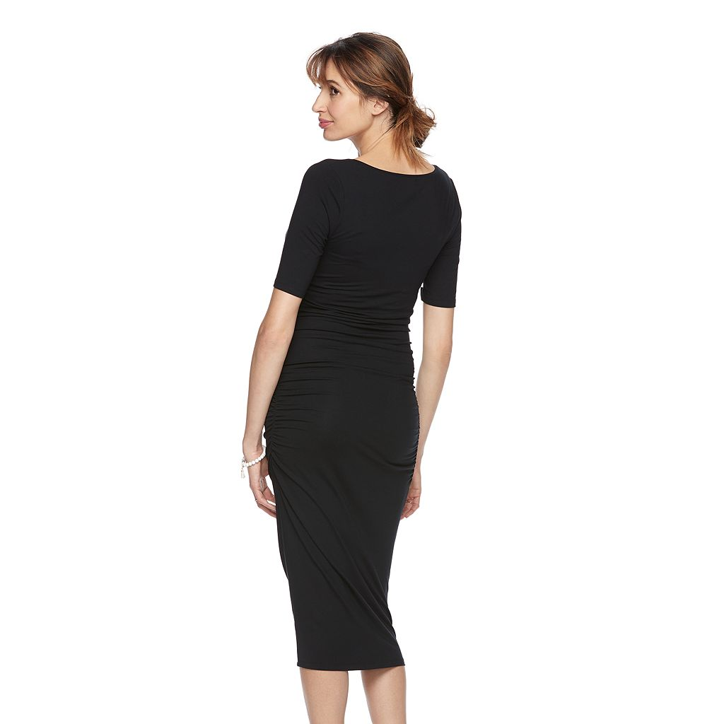 Maternity a:glow Ruched Midi Sheath Dress