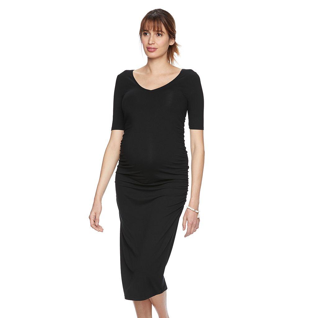 Maternity a:glow Ruched Midi Sheath Dress