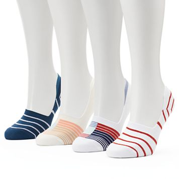 Women's Keds 4-pk. Striped Combed Cotton Non-Slip Liner Socks