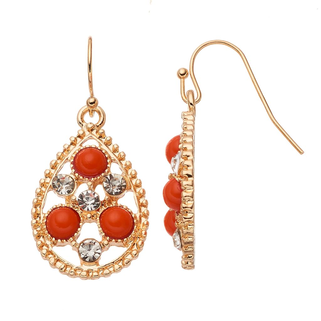 Orange Cabochon Openwork Nickel Free Teardrop Earrings