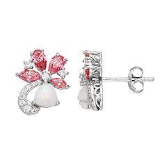 Sterling Silver Simulated Opal & Cubic Zirconia Flower Drop Earrings