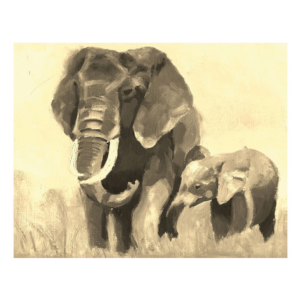 Elephants III Canvas Wall Art