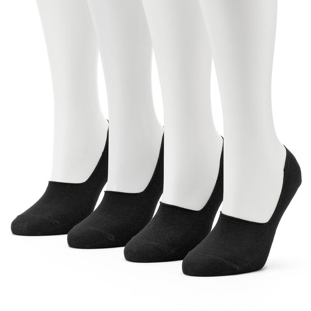 Women's Keds 4-pk. Solid Combed Cotton Non-Slip Liner Socks