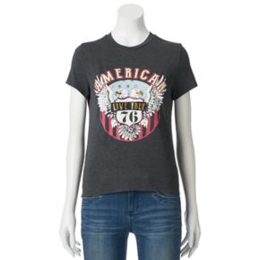 """Juniors' About A Girl """"American Live Free"""" Graphic Tee"""