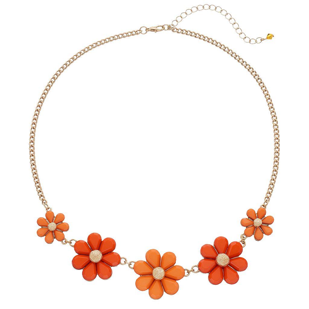 Graduated Orange Flower Necklace