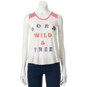 "Juniors' About A Girl ""Born Wild & Free"" Raglan Graphic Tank"